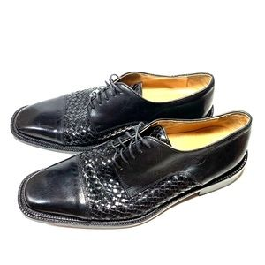 Folio Woven Black Leather Oxfords Made in Italy